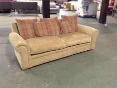 BEIGE FABRIC 3 SEATER SOFA (MISSING BACK CUSHIONS)