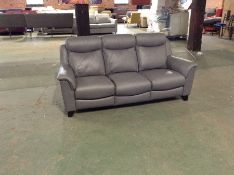GREY LEATHER HIGH BACK 3 SEATER SOFA TR002103-W007