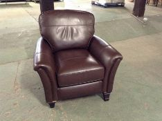 BROWN LEATHER CHAIR TR002103- W00821861 (DAMAGED F