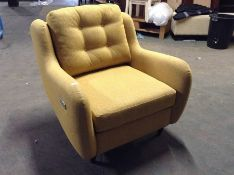 EX SHOWROOM YELLOW FABRIC ELECTRIC RECLINING CHAIR