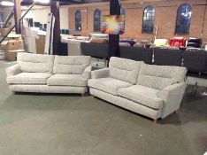 X2 GREY FABRIC 3 SEATER SOFAS