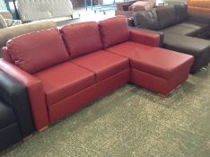 SASHA MADRAS RED LEATHER SOFABED (SFL024-s712746 -