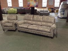 GOLDEN FLORAL PATTERNED 3 SEATER & CHAIR (BROKEN W