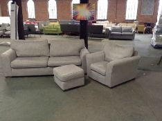 GREY FABRIC 3 SEATER, CHAIR, FOOT STOOL (RETURN) T