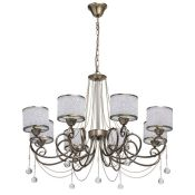 MW-LIGHT, Classic 8-Light Shaded Chandelier (ANTIQUE BRASS) - RRP £118.99 (JLIG1012 - 10469/18) 7D