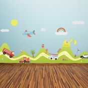 East Urban Home, Happy Hills Happy Cars Wall Sticker - RRP £11.36 (EUBH3569 - 15435/52) 1D
