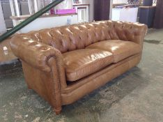 TAN LEATHER CHESTERFIELD 3 SEATER SOFA (SMALL RIP