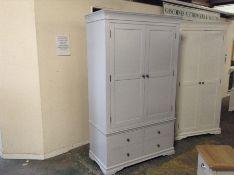 Florence Grey Painted 2 Door 4 Drawer Gents Wardrobe (J40 -SW-GWR-G) DAMAGED