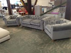GREY VELVET CHESTERFIELD 3 SEATER & X2 CHAIRS HH23