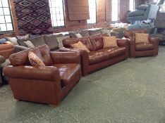TAN LEATHER 3 SEATER, SNUG & CHAIR HH23-148402