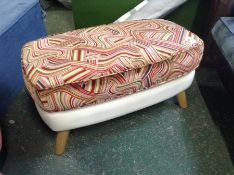 CREAM LEATHER/PATTERN TOP BARBICAN FOOTSTOOL (SFL1235)