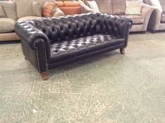 BLACK LEATHER CHESTERFIELD 3 SEATER SOFA (MISSING