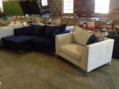 BLUE CORD 3 SEATER CHAISE AND CREAM CORD CHAIR (CO