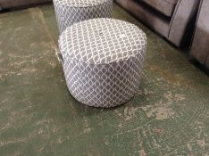 GREY & WHITE PATTERNED ROUND FOOT STOOL HH23-70130
