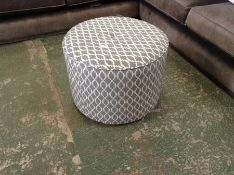 GREY & WHITE PATTERNED ROUND FOOT STOOL HH23