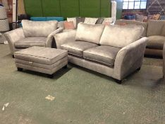 GREY SADDLE 3 SEATER BED SETTEE, CHAIR & FOOT STOO