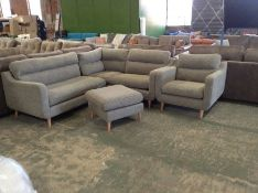 GREY PATTERNED 2 PART CORNER GROUP CHAIR AND FOOTS