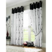 17 Stories, Gothankar Eyelet Semi Sheer Curtains (142X137CM)(BLACK & WHITE) - RRP £35.99 (ANSY1087 -