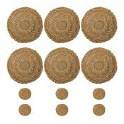 Argon Tableware, Argon Tableware Woven Water Hyacinth Placemats And Coasters - Round - Typha - Set