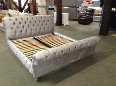 GREY FABRIC 6 FT BEDFRAME (RETURN) (WM27-K279)