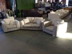 LIGHT GREY PATTERENED 2 SEATER AND 2 CHAIRS (COMES