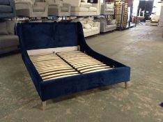 BLUE FABRIC KINGSIZE BEDFRAME (RETURN) WM25-K237