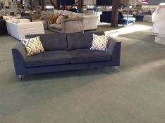 GREY VELVET LARGE 3 SEATER SOFA (WM28-K288)