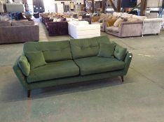 GREEN VELVET LARGE 3 SEATER SOFA (WM28-K286)