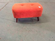 ORANGE VELVET BENCH STOOL (WM28-K289)