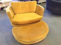YELLOW VELVET SNUG CHAIR (WM28-K284)