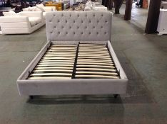grey velvet kingsize bedframe (small rip on corner
