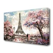 East Urban Home, 'Eiffel Tower Pink Tree Paris' Painting Print on Canvas - RRP £21.99 (BGSY5993 -