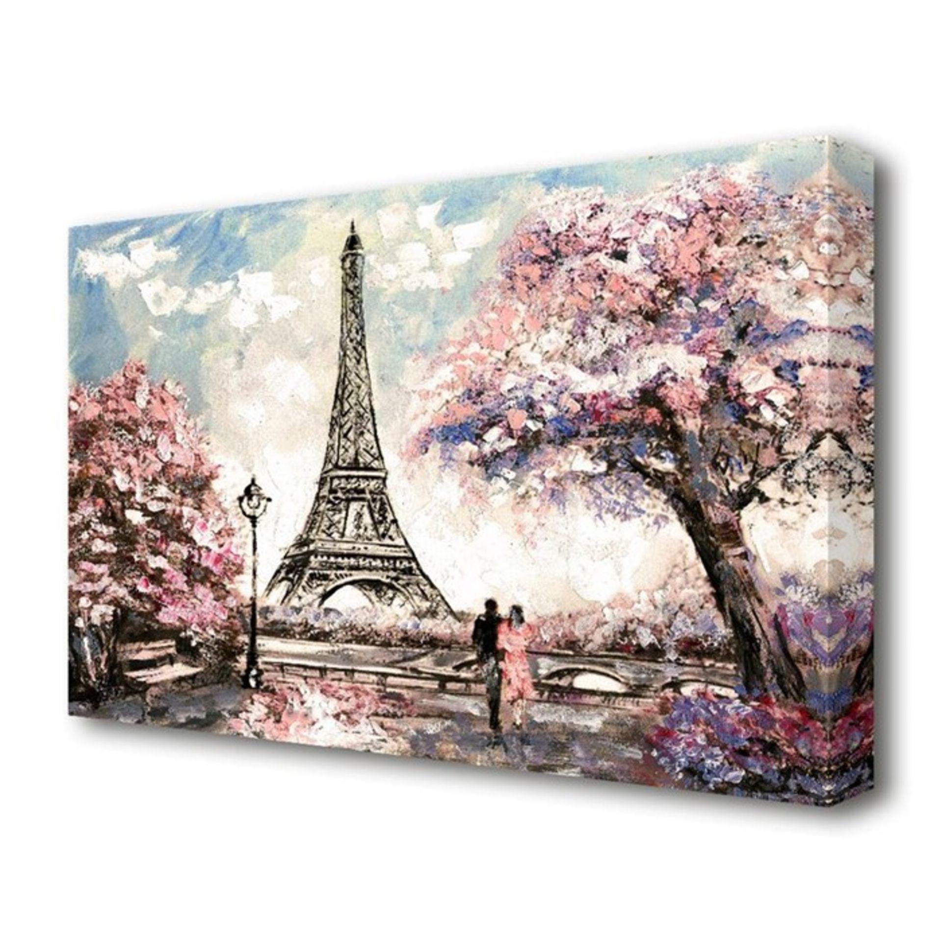East Urban Home, 'Eiffel Tower Pink Tree Paris' Painting Print on Canvas - RRP £21.99 (BGSY5993 -