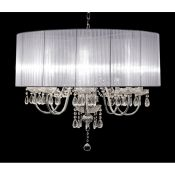 House Additions, Laurent 8 Light Drum Chandelier (WHITE) - RRP £230.99 (HES6519 - 4069/30) 7G