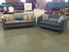 TEAL PATTERNED 3 SEATER & TEAL FABRIC 2 SEATER (RE
