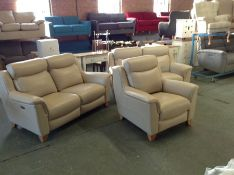 X2 CREAM LEATHER ELECTRIC RECLINING 2 SEATER & FIX