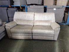 GREY PATTERNED ELECTRIC RECLINING 3 SEATER (RIP ON