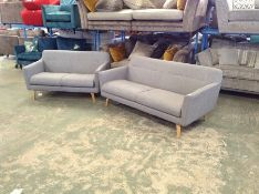 GREY FABRIC 3 SEATER & 2 SEATER