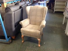 BEIGE CHEQUERED WING CHAIR (LOOSE STITCHING ON BAC