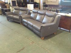 GREY LEATHER ELECTRIC RECLINING 3 SEATER, & 2 SEAT