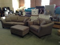 BROWN FABRIC SPLIT 3 SEATER, CHAIR & FOOT STOOL HH