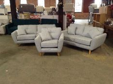 GREY FABRIC 3 SEATER, 2 SEATER & CHAIR