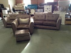BEIGE SADDLE 3 SEATER 2 SEATER CHAIR & STORAGE FOO