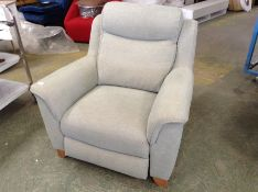 DUCK EGG BLUE ELECTRIC CHAIR (RIPPED ON ARM, DIRTY