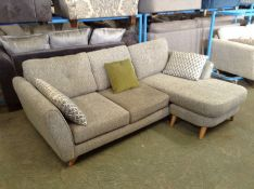 GREY FABRIC 3 SEATER CHAISE (DIRTY DAMAGED) HH25-6