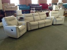 OFF WHITE ELECTRIC RECLINING 3 SEATER & X2 ELECTRI