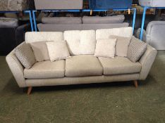 BEIGE FABRIC 3 SEATER (DAMAGE FRAME WHERE FOOT SCR