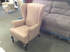 CREAM LEATHER WING CHAIR TR002135 W00922213