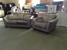 GREY FABRIC 3 SEATER & CHAIR HH25-696591-51 52