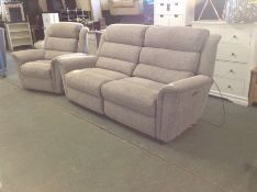 GREY PATTERNED ELECTRIC RECLINING 3 SEATER & CHAIR